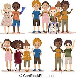 invalido, bambini, con, friends.