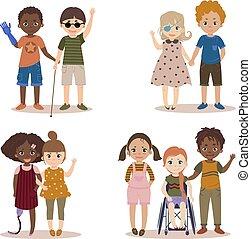 invalido, bambini, friends.