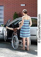 invalido, caregiver, driver, femmina
