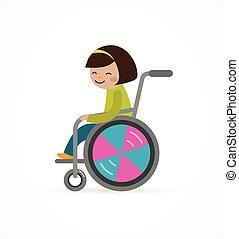 invalido, carrozzella, bambino, ragazza