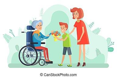 invalido, carrozzella, fiori, donna, ragazzo