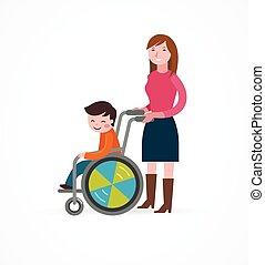 invalido, carrozzella, genitore, bambino