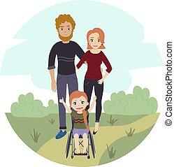 invalido, carrozzella, ragazza, famiglia, felice