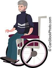invalido, carrozzella, uomo, vecchio, nonno