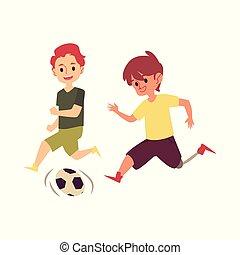 invalido, cartone animato, felice, gioco, calcio, gamba prostetica, ragazzo, gioco, bambino, amico