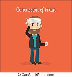 invalido, cervello, commozione cerebrale, uomo