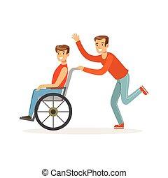 invalido, colorito, carrozzella, assistenza, giovane, illustrazione, accessibilità, porzione, lui, vettore, sanità, uomo sorridente, o, amico, volontario