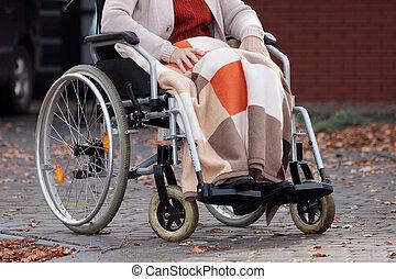 invalido, coperta, donna