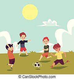 invalido, estate, calcio, correndo, football, ragazzo, campo giuoco, bambini