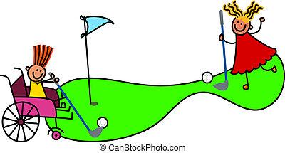 invalido, giochi, ragazza, golf, matto