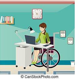 invalido, giovane, in, carrozzella, lavorativo, in, ufficio.