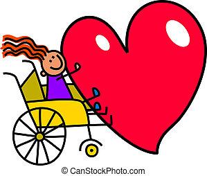 invalido, grande, ragazza, cuore
