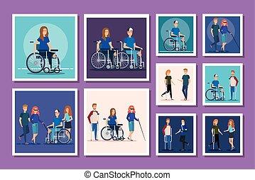 invalido, gruppo, persone, fascio
