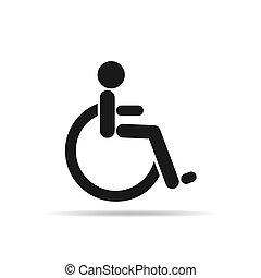 invalido, icon., vettore, nero, illustration.