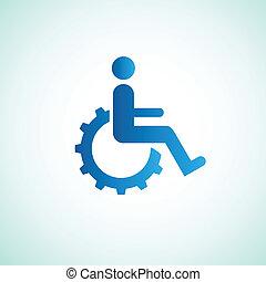 invalido, icona, ingranaggio, segno