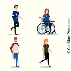 invalido, lesione, set, fisico, persone