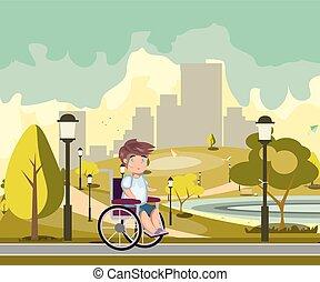 invalido, parco città, persona
