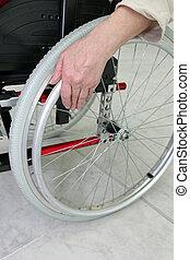 invalido, persona, in, uno, carrozzella
