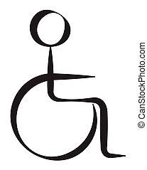 invalido, persona, simbolo