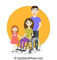 invalido, persona, vettore, illustrazione, famiglia