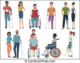 invalido, persone, con, amici, porzione, loro, set., vettore, illustration.