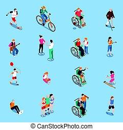 invalido, persone, isometrico, set
