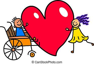 invalido, ragazzo, amore, grande, cuore