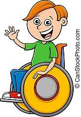 invalido, ragazzo, carrozzella, carattere, cartone animato