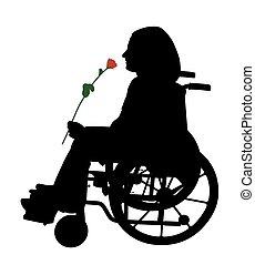 invalido, rosa, carrozzella, rosso, persona