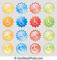 invalido, set, colorito, 16, grande, segno., moderno, bottoni, vettore, icona, tuo, design.