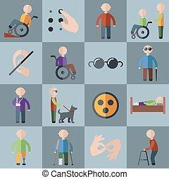 invalido, set, icone