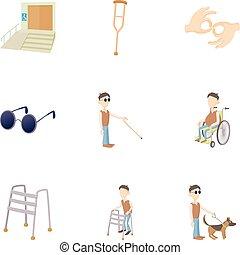 invalido, set, stile, cartone animato, icone