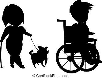 invalido, silhouette, persone