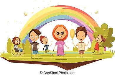 invalido, stile, bambini, cartone animato, illustrazione