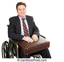 invalido, uomo affari, cartella