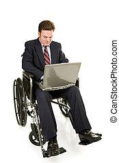 invalido, uomo affari, &, computer