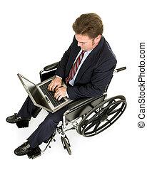 invalido, uomo affari, laptop