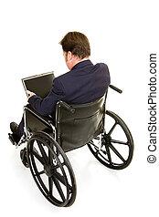 invalido, uomo affari, vista, retro