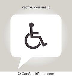 invalido, vettore, icona