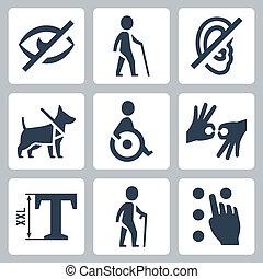 invalido, vettore, set, releated, icone