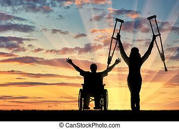 invalids, 松葉ずえ, 車椅子, 日没, 幸せ