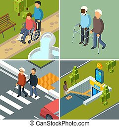 invalids, urbano, isometrico, concetto, city., crutches, immagini, incapacità, escursionisti, apparecchiatura, persone, vettore, strumenti ausiliari, sanità, sedie rotelle