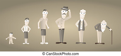 invecchiamento, vecchio, vendemmia, /, crescente, uomo
