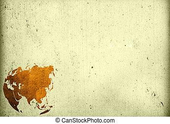 invecchiato, asia, map-vintage, grafica