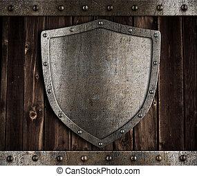 invecchiato, metallo, scudo, su, legno, medievale, cancelli