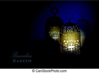 invecklad, arabiska, lampa