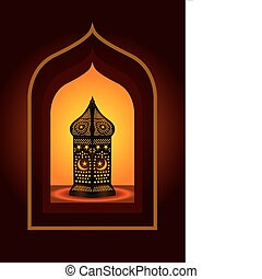 invecklad, arabiska, lykta