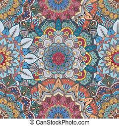 invecklad, mönster, blomma