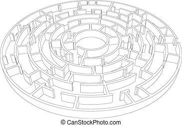 invecklad, vektor, wire-frame, runda, labyrinth.