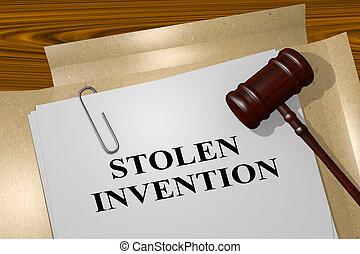 invenção, conceito, -, roubado, legal